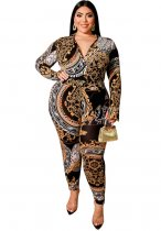 Plus Size Print Langarm Wickeloverall