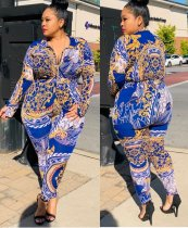 Plus Size Print Ethnische Bodycon Jumpsuit