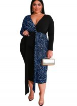 Plus Size V-Neck Leopard Midi Dress