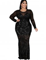Plus Size Sequins Long Sleeve Mermaid Evening Dress