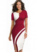 Contrast O-Neck Slit Keyhole Midi Dress with Short Sleeves