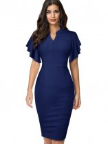Solid Color V-Neck Midi Dress with Ruffle Sleeves