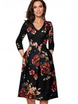 Print V-Neck Vintage Dress with 3/4 Sleeves