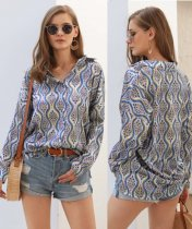 Print Retro Loose Blouse with Sleeves