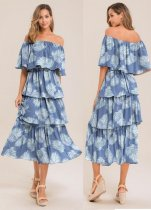 Print off shoulder laag lange jurk
