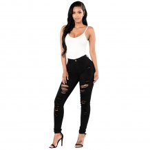 High Waist Ripped Jeans Black 23490-1
