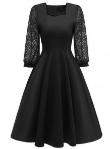 Sequare Neck A-Line Dress with Lace Sleeves