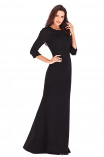 Applique Evening Dress with 3/4 Sleeves