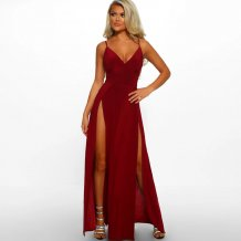 High Cut Red Straps Long Party Dress