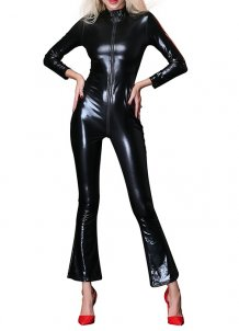 Sexy Long Sleeve Leather Jumpsuit Lingerie