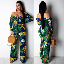 Floral Green Long Sleeve Sweetheart Jumpsuit