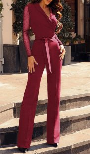 Long Sleeves Formal Wrap Jumpsuit with Belt