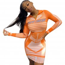 Print Orange Bodycon Shirtjurk