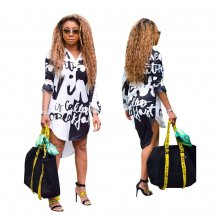 White and Black Print High Low Long Blouse