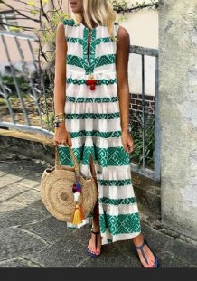 White and Green Print Boho Long Dress