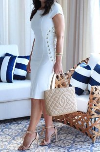 White Lace Up Short Sleeve Midi Dress