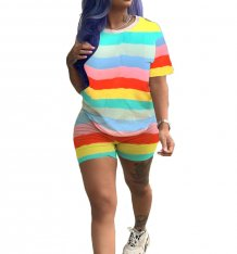 Colorful Stripped Shirt and Shorts