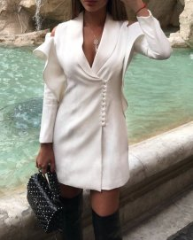 White Detailed Plung Wrap Dress
