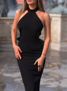 Black Detailed Scoop Midi Dress