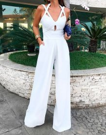 White Hollow Out Occassional Jumpsuit