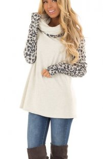Dripped Collar Pullover Top with Print Sleeves