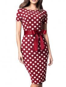 Vintage Elegant Polka Midi Dress