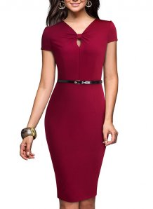 Pure Elegant V-Neck Midi Dress without Belt