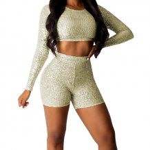 Sequins Long Sleeve Crop Top and Shorts