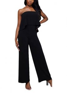 Black Strapless Overlay Jumpsuit
