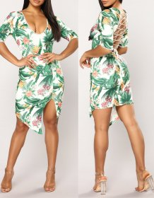 Lace Up Floral Irregular Party Dress