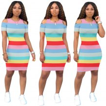 Cut Out Contrast O-Neck Bodycon Dress