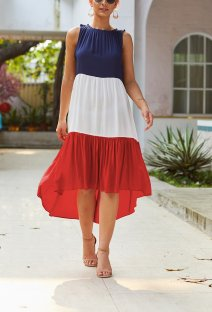 Contrast Sleeveless High Low Long Dress