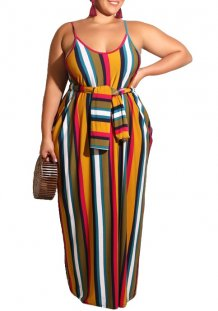 Plus Size Stripes Straps Long Dress with Belt