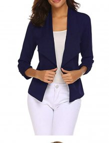 Turndown Collar Solid Blazer