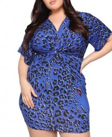 Plus Size V-Neck Leopard Mature Dress