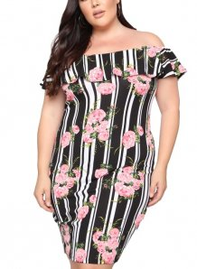 Plus Size Stripes Floral Mature Dress