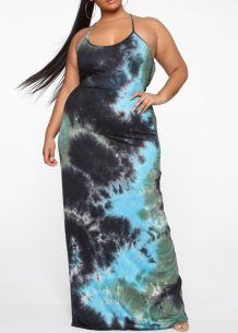 Plus Size Batik Straps Long Dress