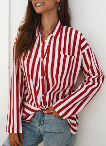 Wide Stripes Long Sleeve Loose Blouse with Cross Hem