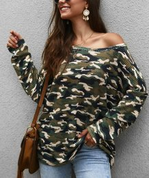 Print Camou Long Sleeve Loose Shirt with Slash Shoulder