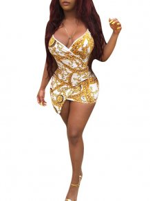 Gold and White Chains Print Straps Wrap Dress