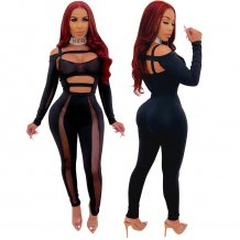 Black Sexy Cut Out Bodycon Jumpsuit