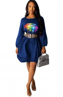 Print Lips O-Neck Loose Shirt Dress