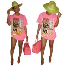 Print Cartoon O-Neck Pink Shirt