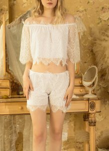 Sexy Lace Off Shoulder Sleeping Top and Shorts