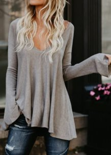 Plain Solid Fit-and-Flare V-Neck Fall Shirt