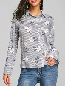 Floral Print Striped Fall Blouse