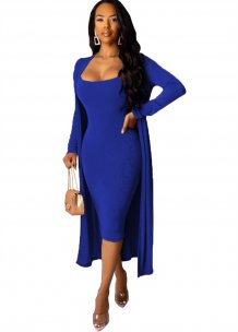 Plain Solid Midi Dress with Matching Long Cardigans