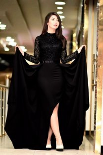 Black Irregular Long Sleeve Evening Dress