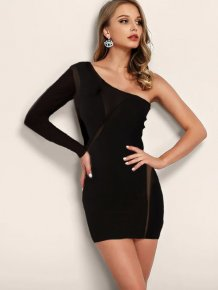Sexy Patchwork One Shoulder Club Kleid