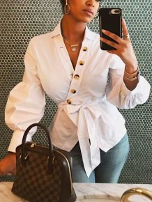 White V-Neck Wrap Top with Pop Sleeves